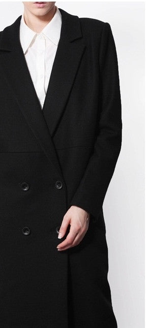 Avant Garde Dark Black  Asymmetric Side Big Slit Overlong Wool Jacket Coat