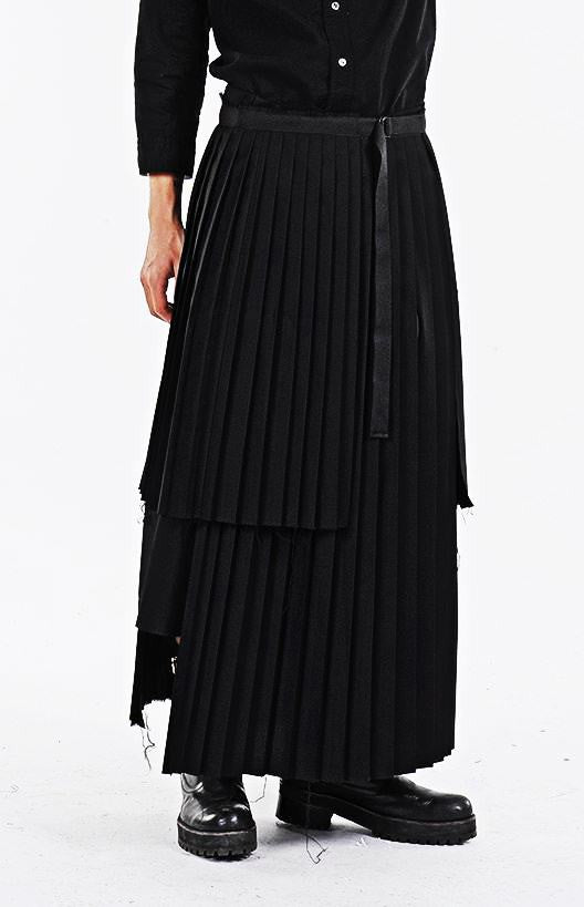 d9db1f5755 Dark Black Essentials Pleats Wrap Long Skrit // Pleated Skirt Mens Wear it  with Drop