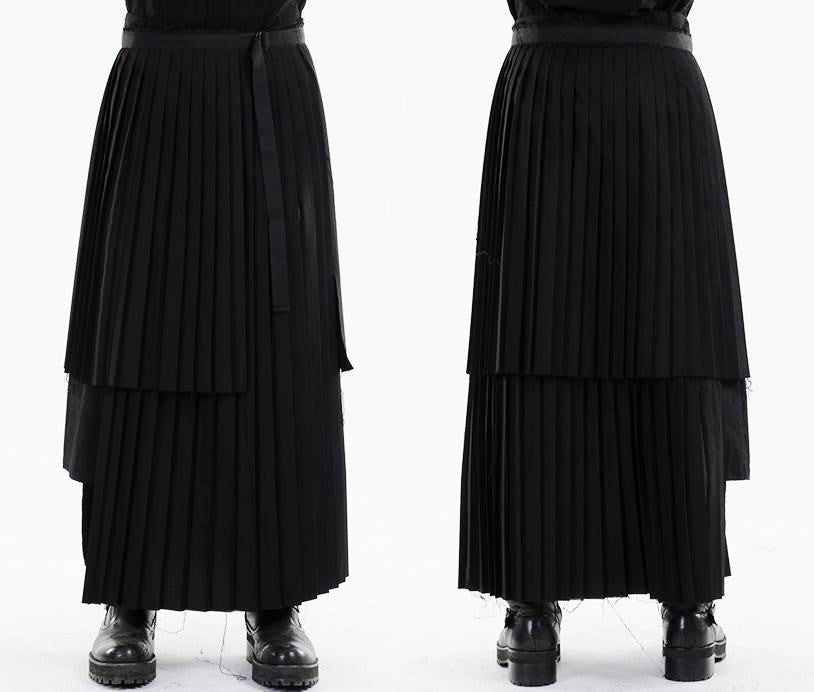 Dark Black Essentials Pleats Wrap Long Skirt //  Pleated Skirt Mens / Wear it with Drop Crotch Pants