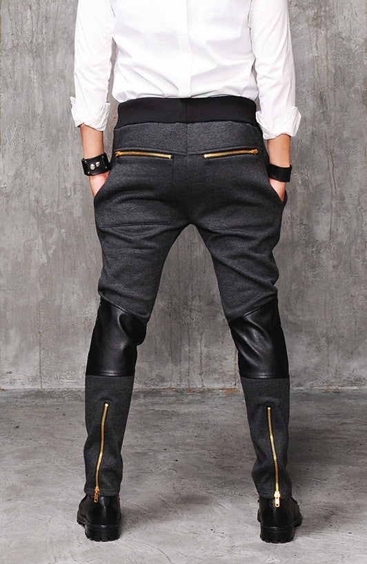 Faux Leather Paneled  Knee Gold and Silver ZipperJogger Leg Mens Slim Biker Jersey Sweatpants