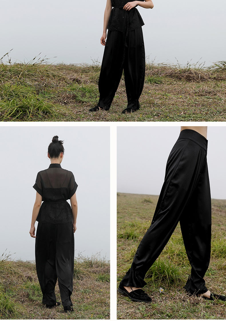 Original Design Women's Long Trousers Loose Casual Waist Nine-point Harem Pants