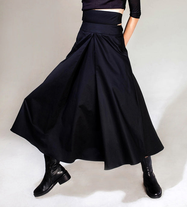 Avan-Garde Loose fitting Wide Leg Japanese Style Asymmetrical High Waist Bandage Skirt Trouser