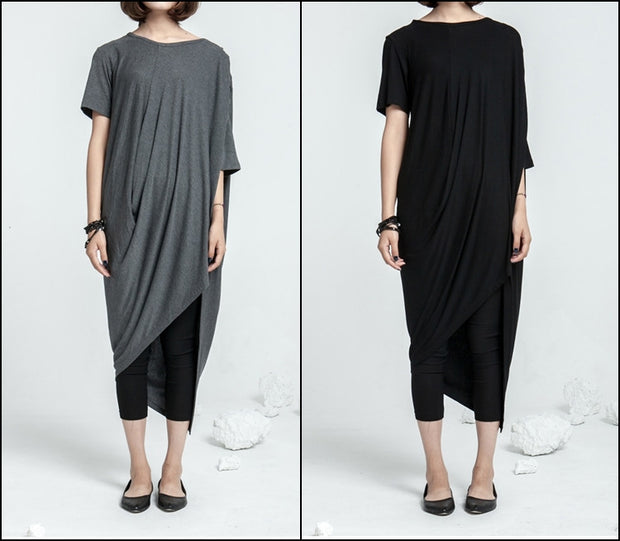 Asymmetrical Draped Viscose Cotton Ann Original Design Retro Silhouette Deconstruction Design Dress Tunic