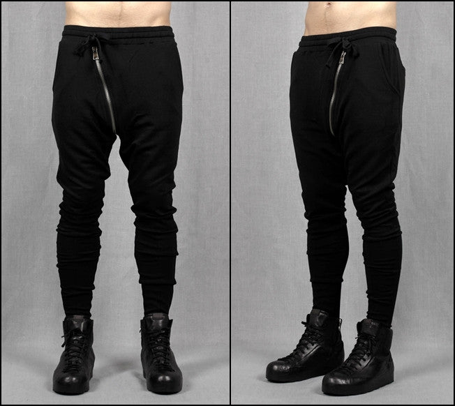 Drop Crotch Detachable Front Cotton Jersey Pants Harem Pants / Casual Black Cargo