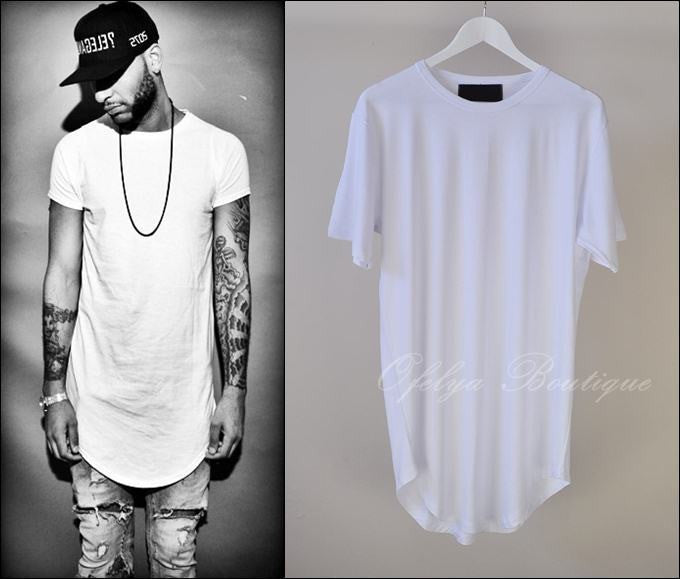 Men Wide Neck Extended Essential Short Sleeve Oval Hem Long Tee