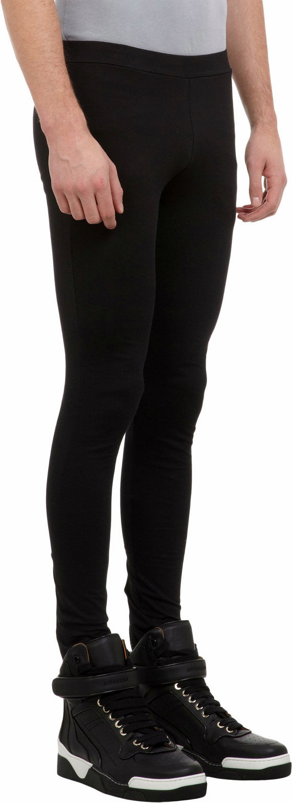 Black Jersey Cotton Leggings Under Joggers For Men &Women
