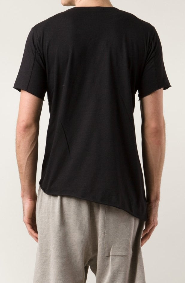 Asymmetric Viscose Cotton Tee Varsity Short Sleeve Tshirt