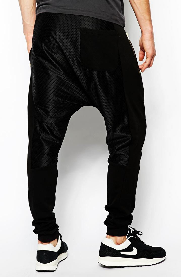 Men Drop Crotch Sweatpants With Mesh