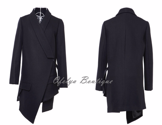 Avant Garde Dark Wool Irregular Cut Women Coat Jacket  Exclusively Ours!