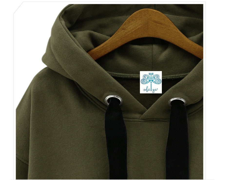 Drop Shoulder Army Green Side Zipper Long Fleece Sweatshirt Hoodie Overlong Oversize Velvet Drawstrings