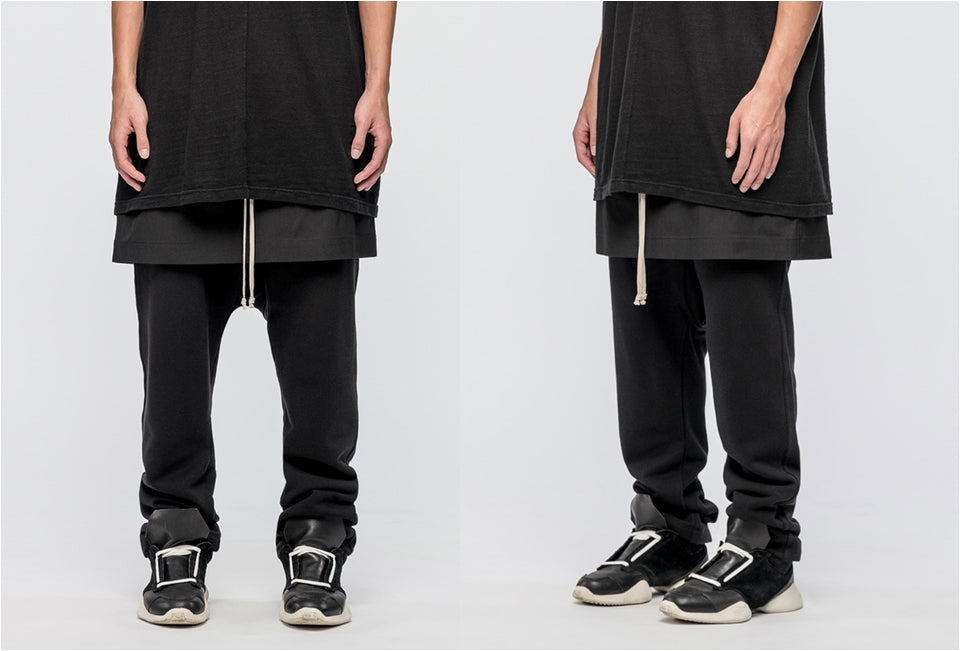 Men's Kilt Pants / Constructed Relaxed-fit Cotton Jersey / Sarouel-Style Trousers in Black. / Japanese