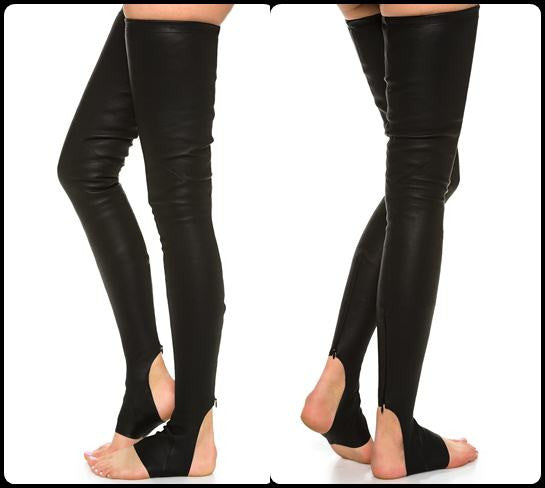 Faux Leather Long Tight Socks Black