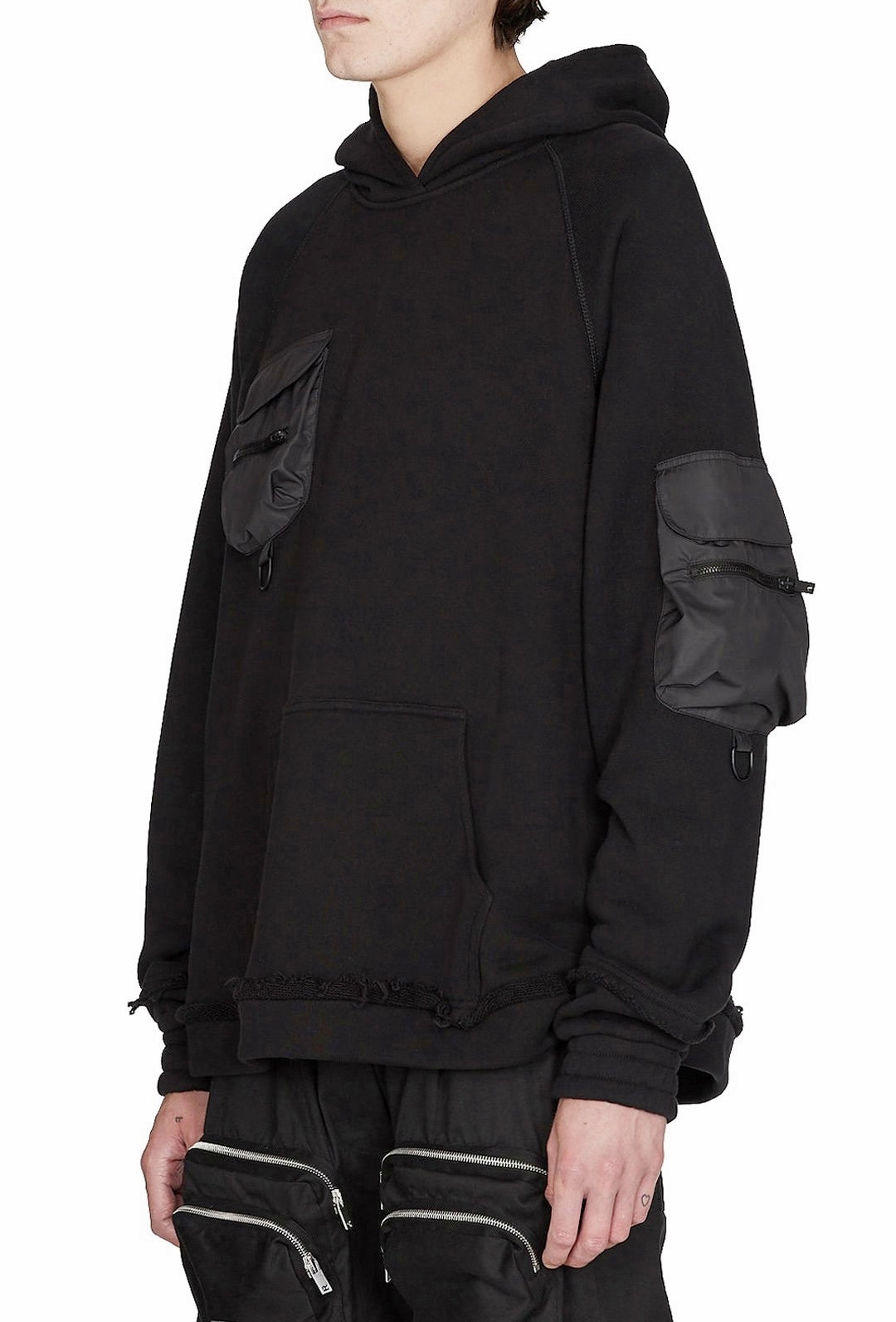 Techwear Military Oversized Hoodie with Tactical Sleeve and Chest Pocket