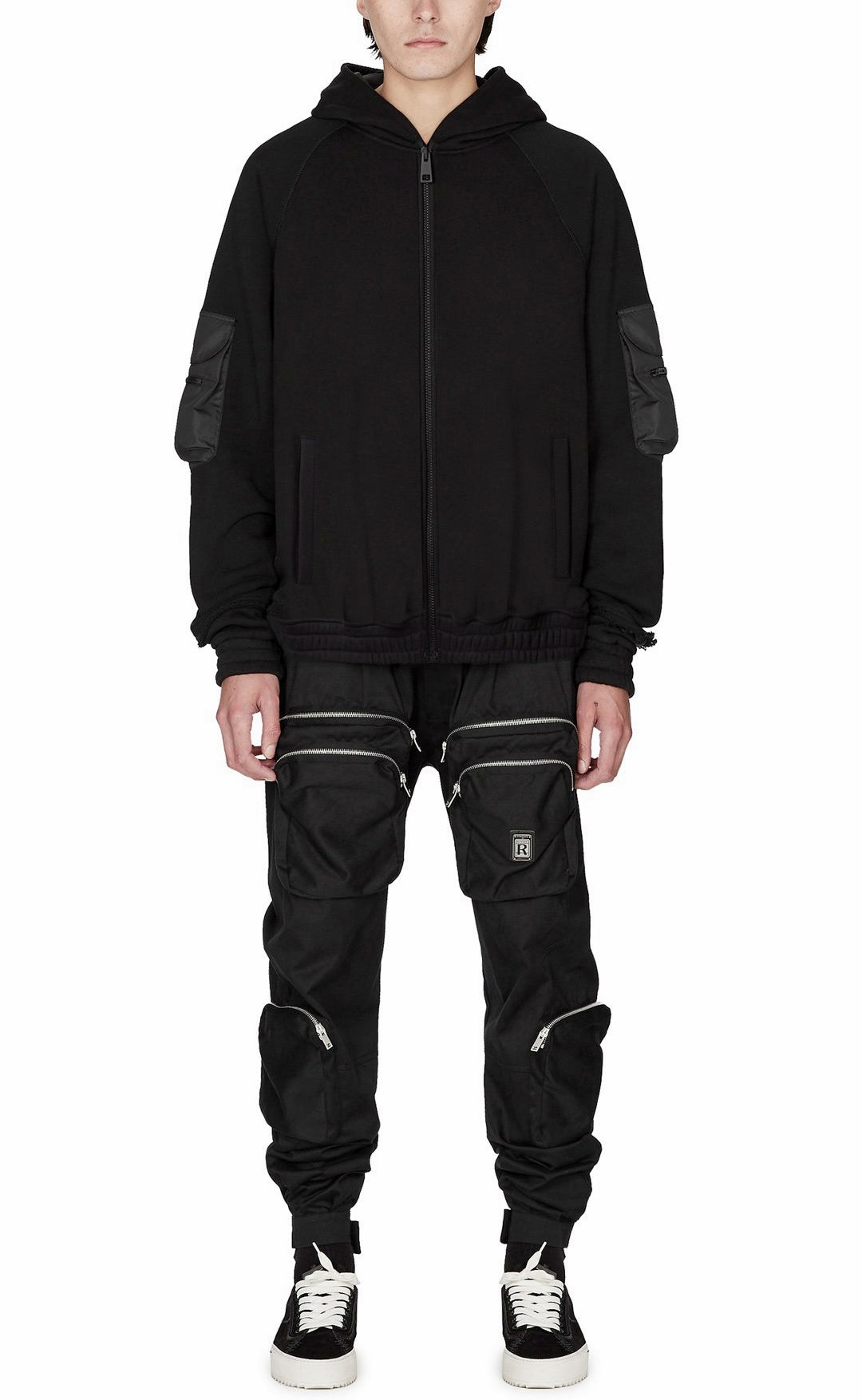 Techwear Military Zip Up Hoodie with Nylon Pocket Details