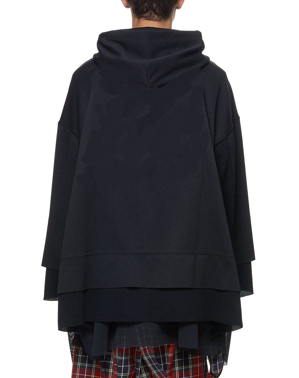 Mesh Hoodie Sweater in Black / Adjustable Hood Layer Over Mesh Triple