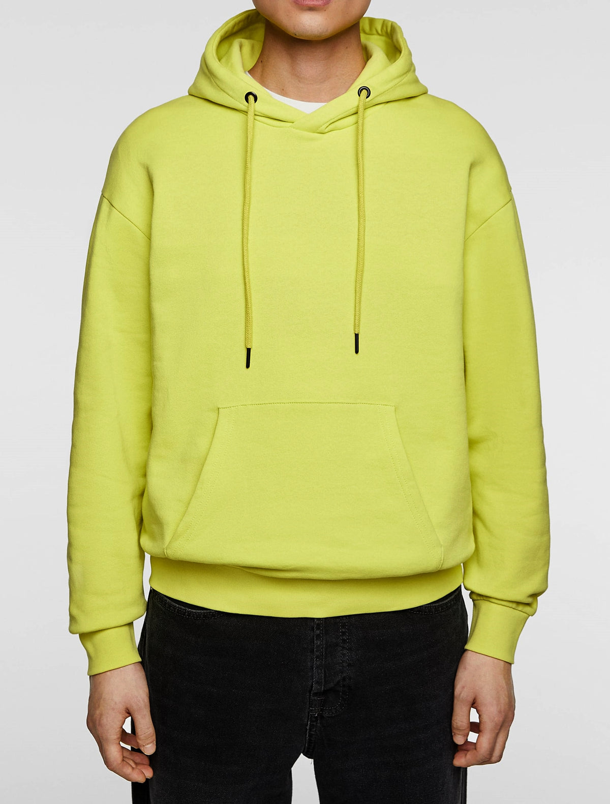 Neon Yellow Streetwear Men Long Sleeve Patch Outpocket Hoodie / Gym Oversized