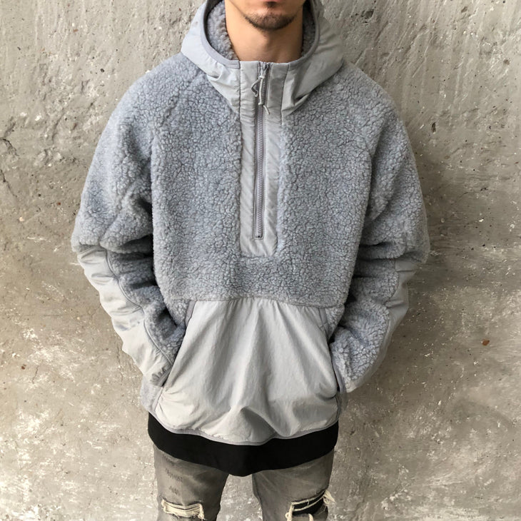 2021 Men's Lamb Wool Stitching Hooded Zipper Sweater Coat Mix Nylon Tactical Jacket