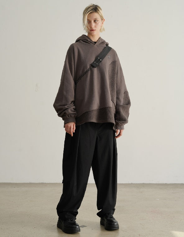 Irregular Edging Treatment Stitching Mohair Camper Asymmetric Cut Sweatshirt Hoodie