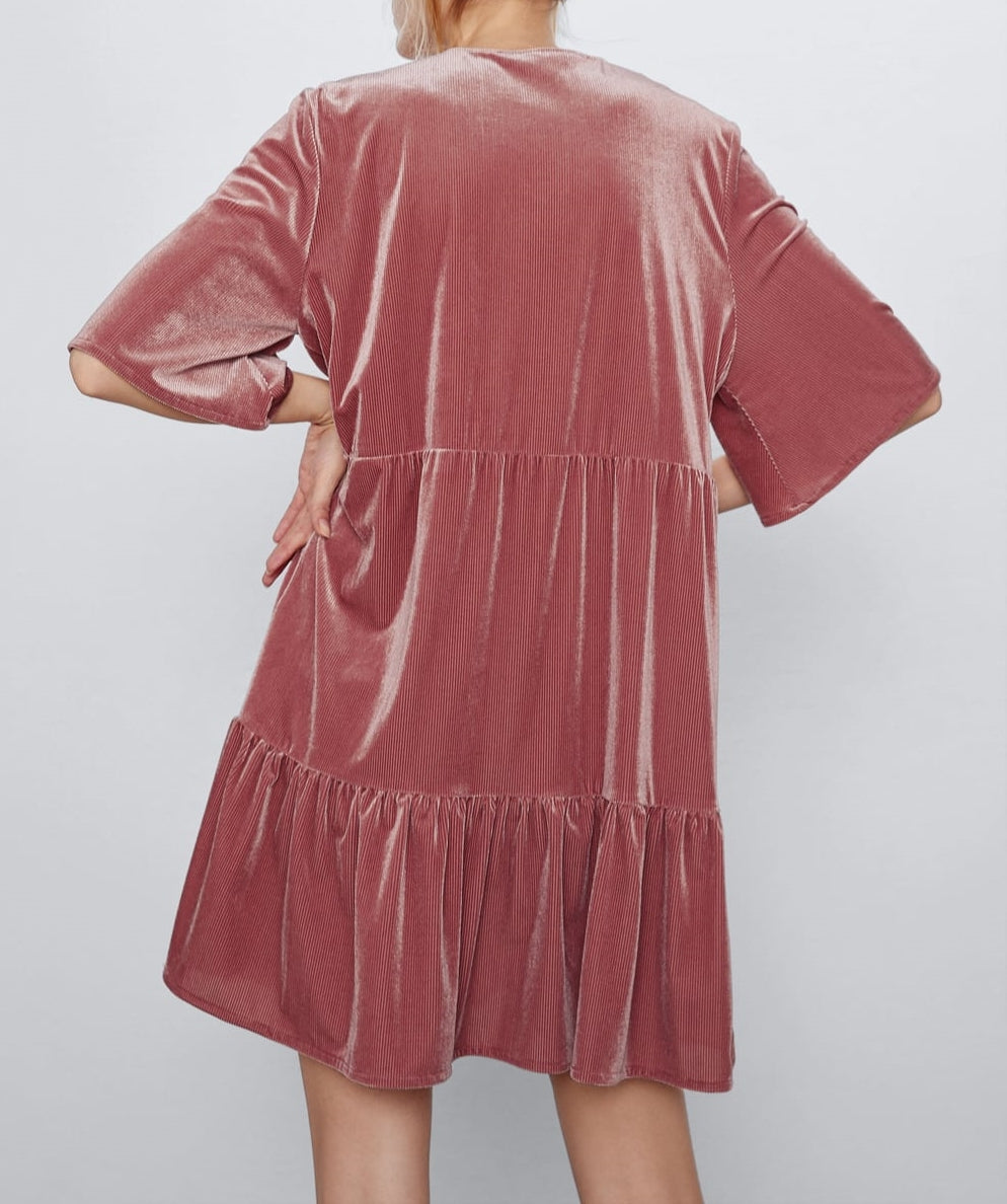 Flared Velvet Dress Deep V Neck / Ruffled Edges