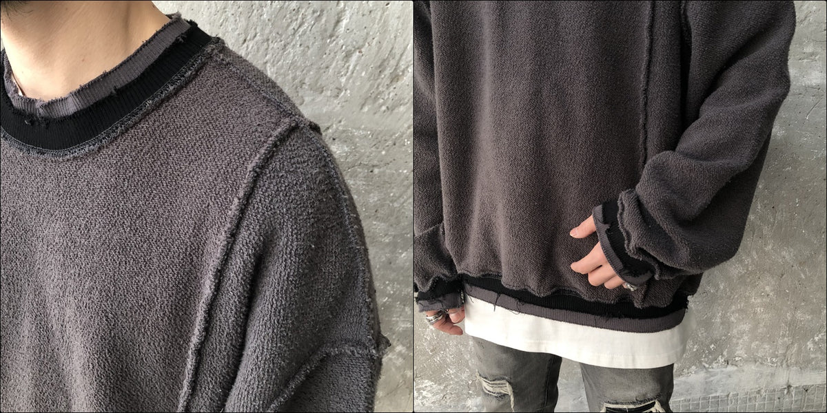 Oversize Front and Back Cross Stitching Raw Edges Round Neck Utility Sweater