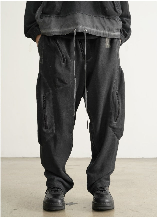 AW21 Dirty Dyed Three-dimensional Pocket PMU Pants Zipper Trousers Jogger