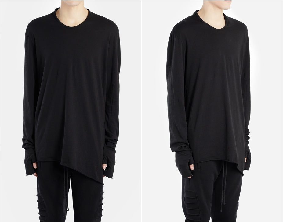 Men's Black Rooms Basic Long Sleeve Gloves Tee  // Asymmetric Zip Closure // Gloves Sleeve //  Sweatshirt