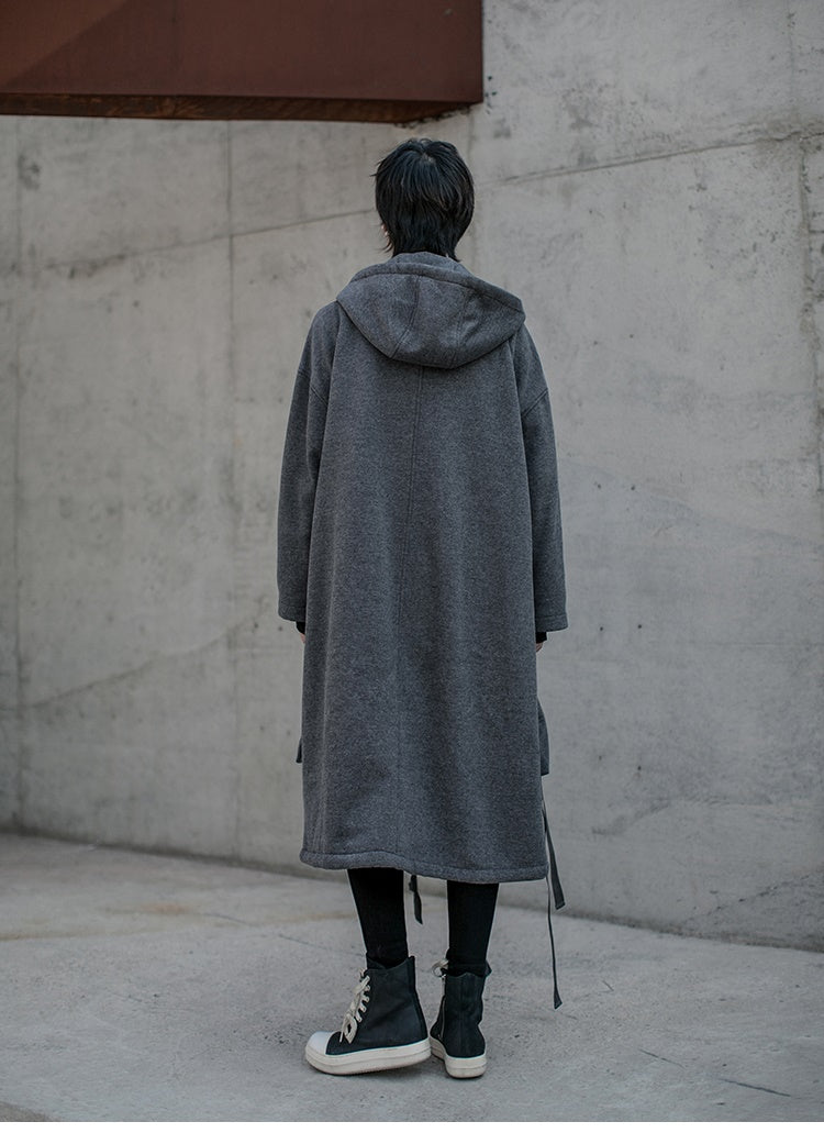 Dark Neutral Large Pockets Overlong Knee-Below Fleece Coat Hoodie