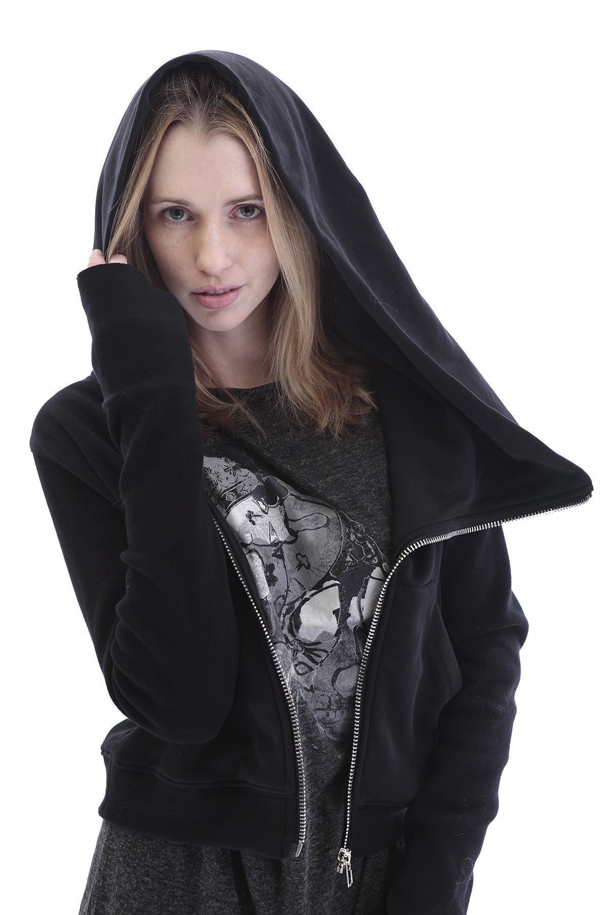 Black Assimetric Zip Collar Cotton Fleece Hood Sweatshirt Dark