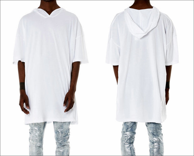 Oversized Hooded T-shirt in White, Short Sleeves, Straight hem, Tonal Stitching