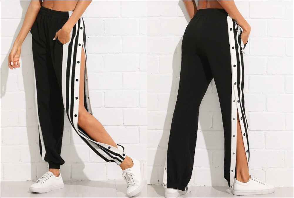 Women Snap Button Striped Side Pants Jogger Track