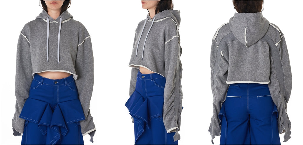 Women Relaxed-fit Cropped Hooded Pullover in Grey / Split Seam Construction / Oversized sleeves
