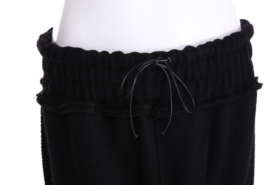 High Waisted Drop Crotch Lace Waist Combed Cotton Casual Pants Harem Pants