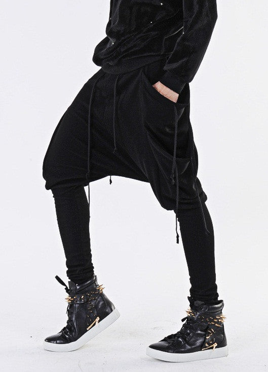 Drawstring Harem Multi Pocket Jersey Pants/ Loose Casual Drop Crotch Harem Jogger