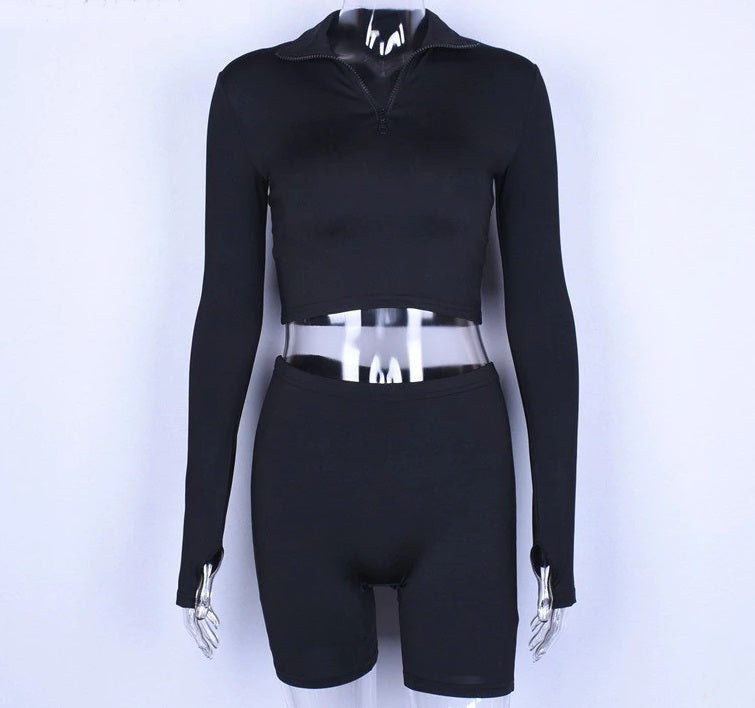 Black Sexy Long Sleeve Elastic Long Sleeve Sexy Crop Tops Skinny Shorts Two Piece Set