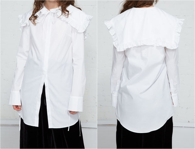 Mediavel Poplin Shirt / Dramatic Ruffled Cape Collar / Self Tie Ribbon