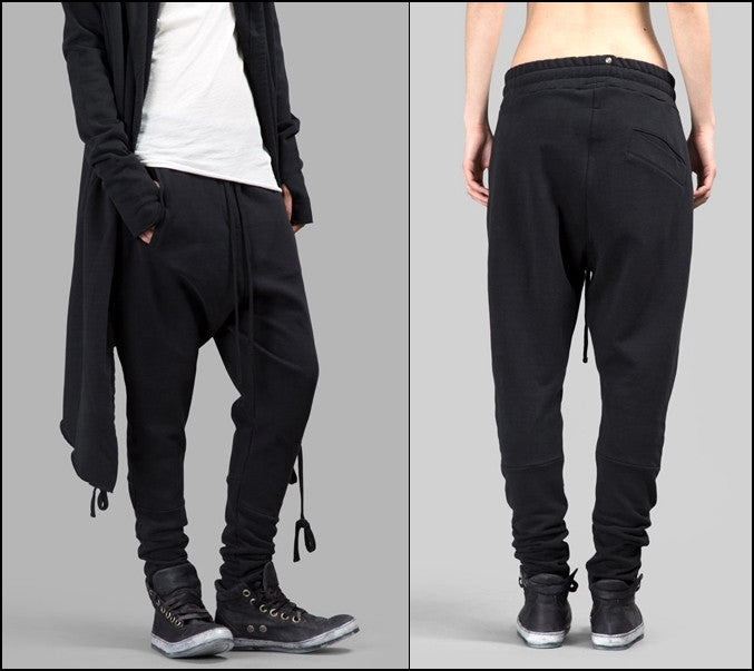 Dark Black WOMEN'S BLACK TROUSERS Loose Casual Low Crotch Harem Pants / Casual Black Pants Harem Casual Jersey Jogging