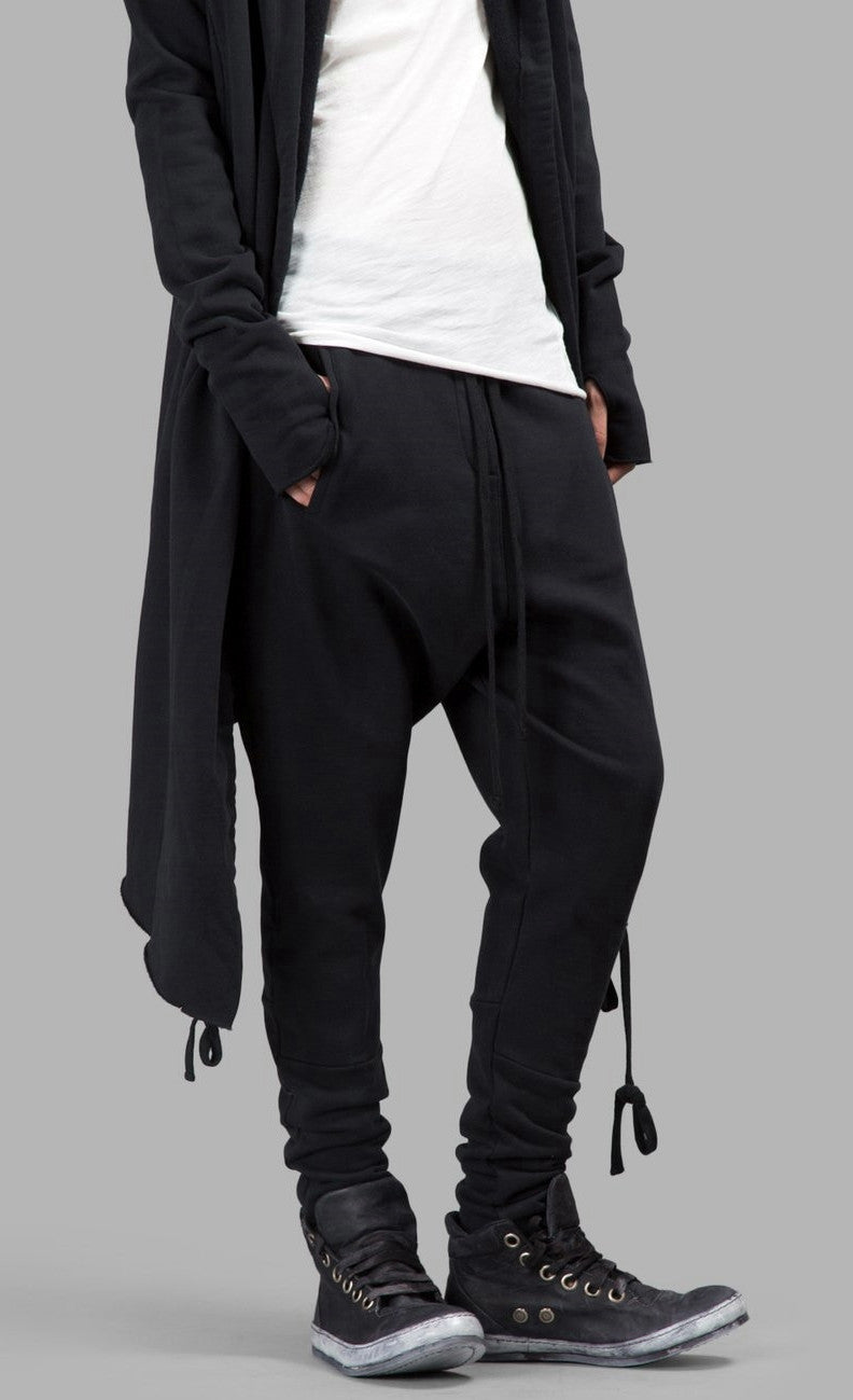 WOMEN'S BLACK TROUSERS Loose Casual Low Crotch Harem Pants / Casual Black Jogger