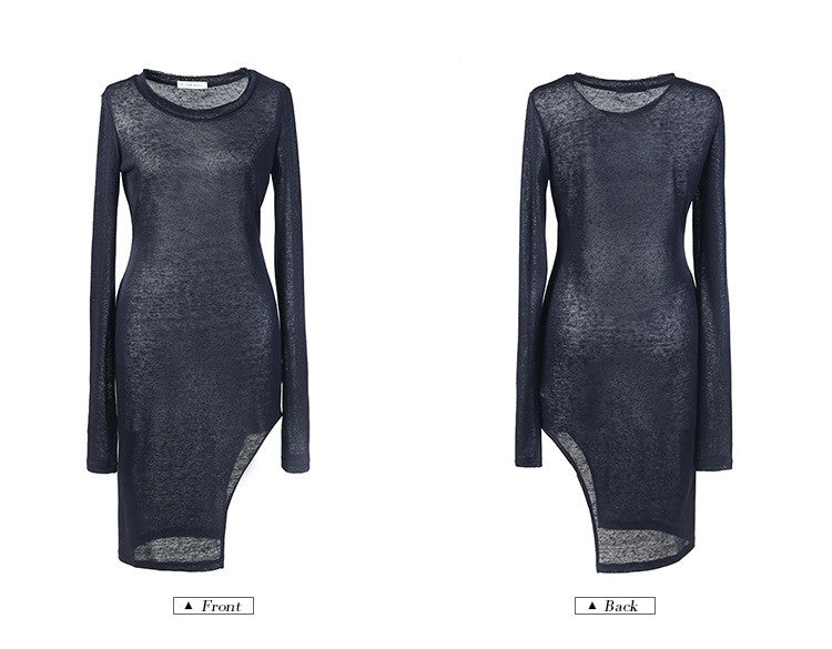 Viscose Cotton Long Sleeve Asymmetrical Hem Women's Sexy Dress