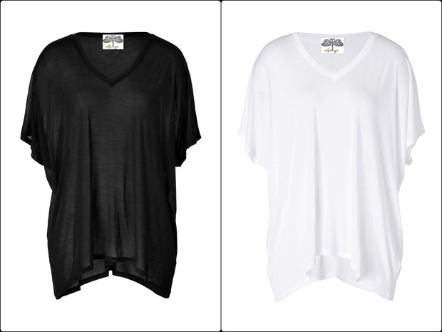 Basic Jersey Oversized T-Shirt in White & Black Asymmetric Cut for Women