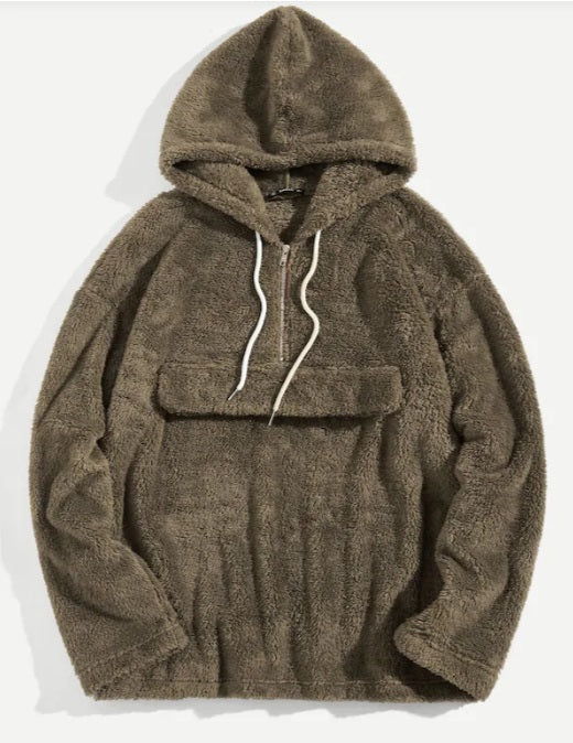 Men Zip Front Drawstring Hoodie Teddy Anorak Sherpa Jacket
