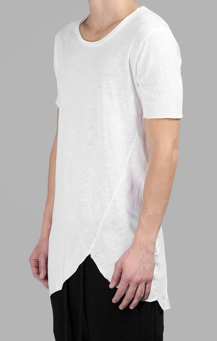 Extended Essential Short Sleeve Asymmetric Cut Round Wide Neck Long Tee