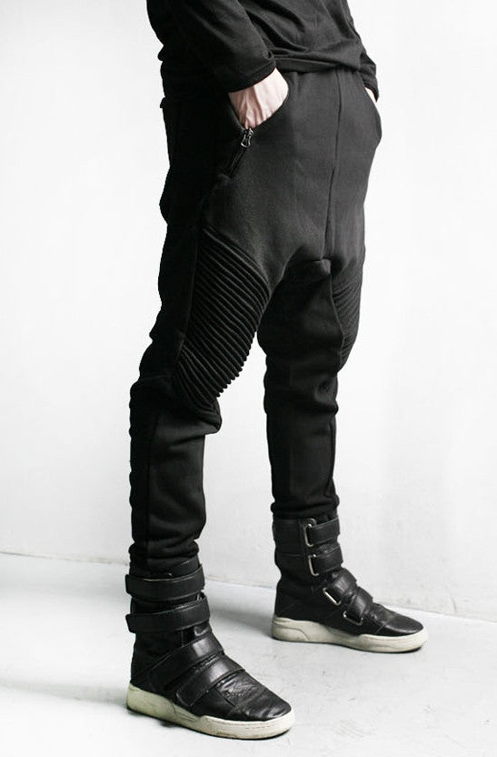 Men Slim-Fit Biker Drop Crotch Cotton Dual Zip Pants Essential Trouser Pintuck