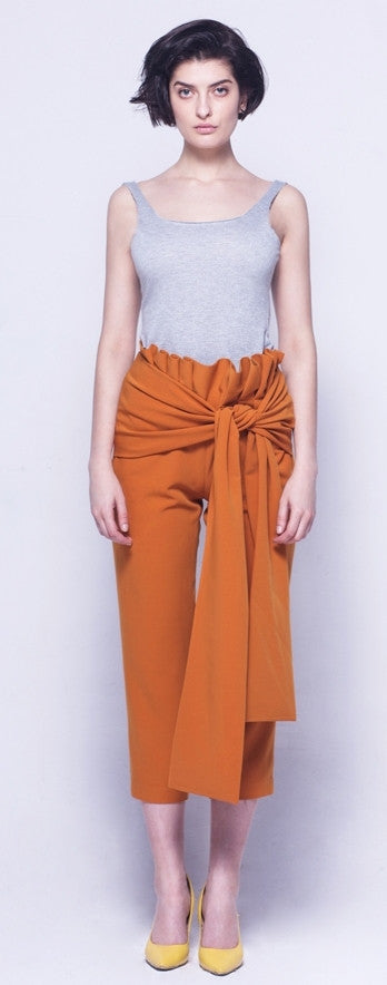 Avant Garde High Waist Skinny Leg Bow Detail Crepe Pants // Asymmetrical Trouser