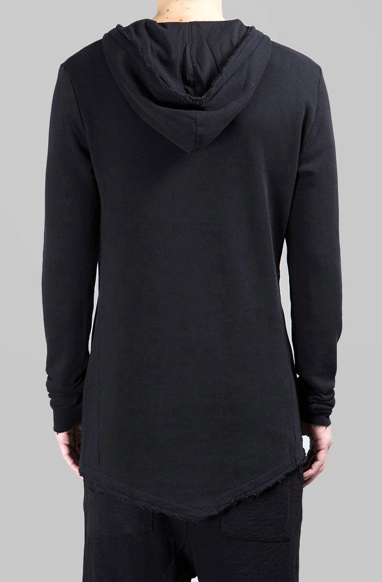 Men Wide Round Neck Asymmetric Raw Cut Seam Detail Sweaters Hoodie