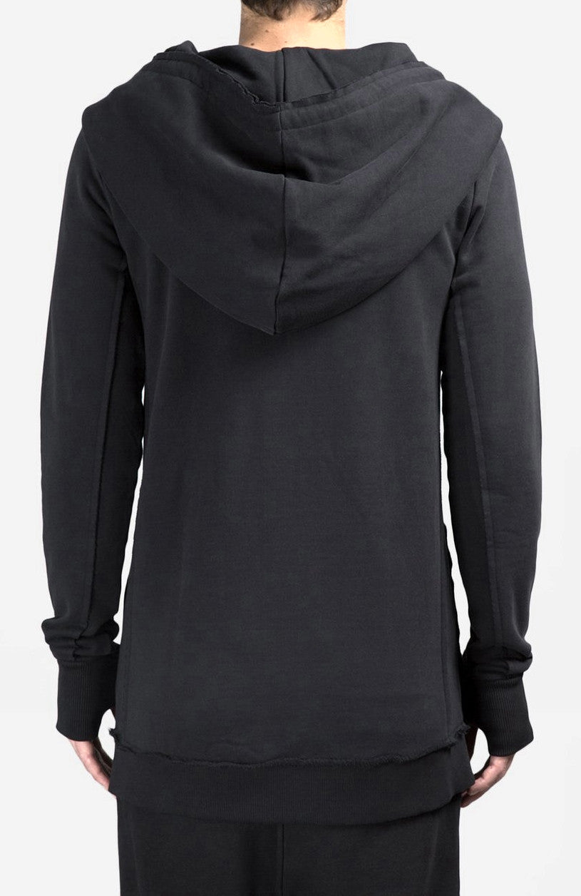 Men's Black Hoodie // Asymmetric Zip Closure // Gloves Sleeve // Big Hood / Oversized Skinny Sweatshirt