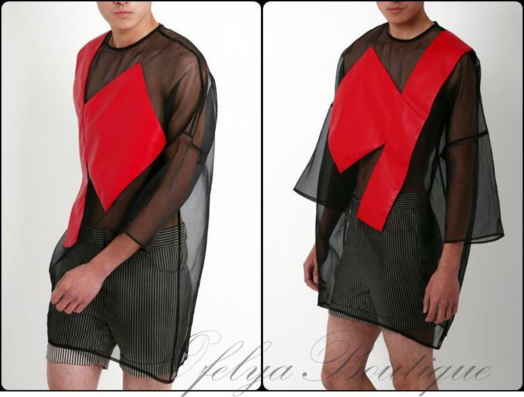 Tripartite Mesh Design Exclusive Men's Summer Black Geometric Perspective Organza Loose Tee