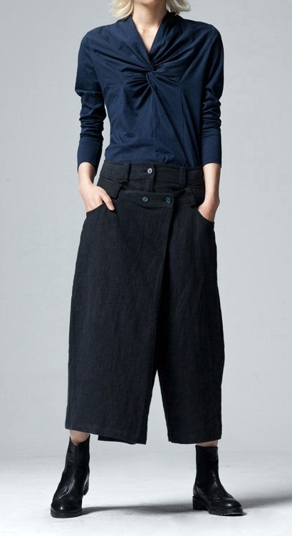 Original Design Stretch Cotton Wide Leg Culottes Sen Women Casual Short Pants Pantyhose