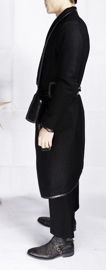 Winter Original High-end Leather Trim Dark Gothic Lines Woolen Long Coat High Collar Jacket
