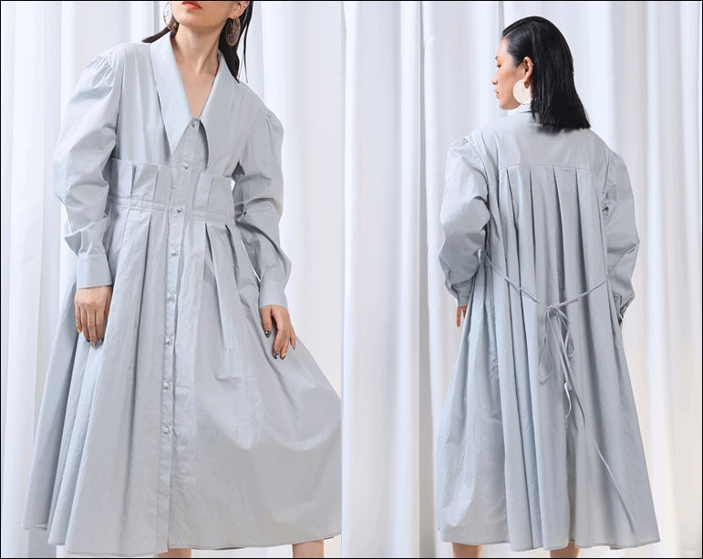 Fresh Cotton Tie Belt Waist Large Loose Pleated Shirt Dress Ruffles Poplin
