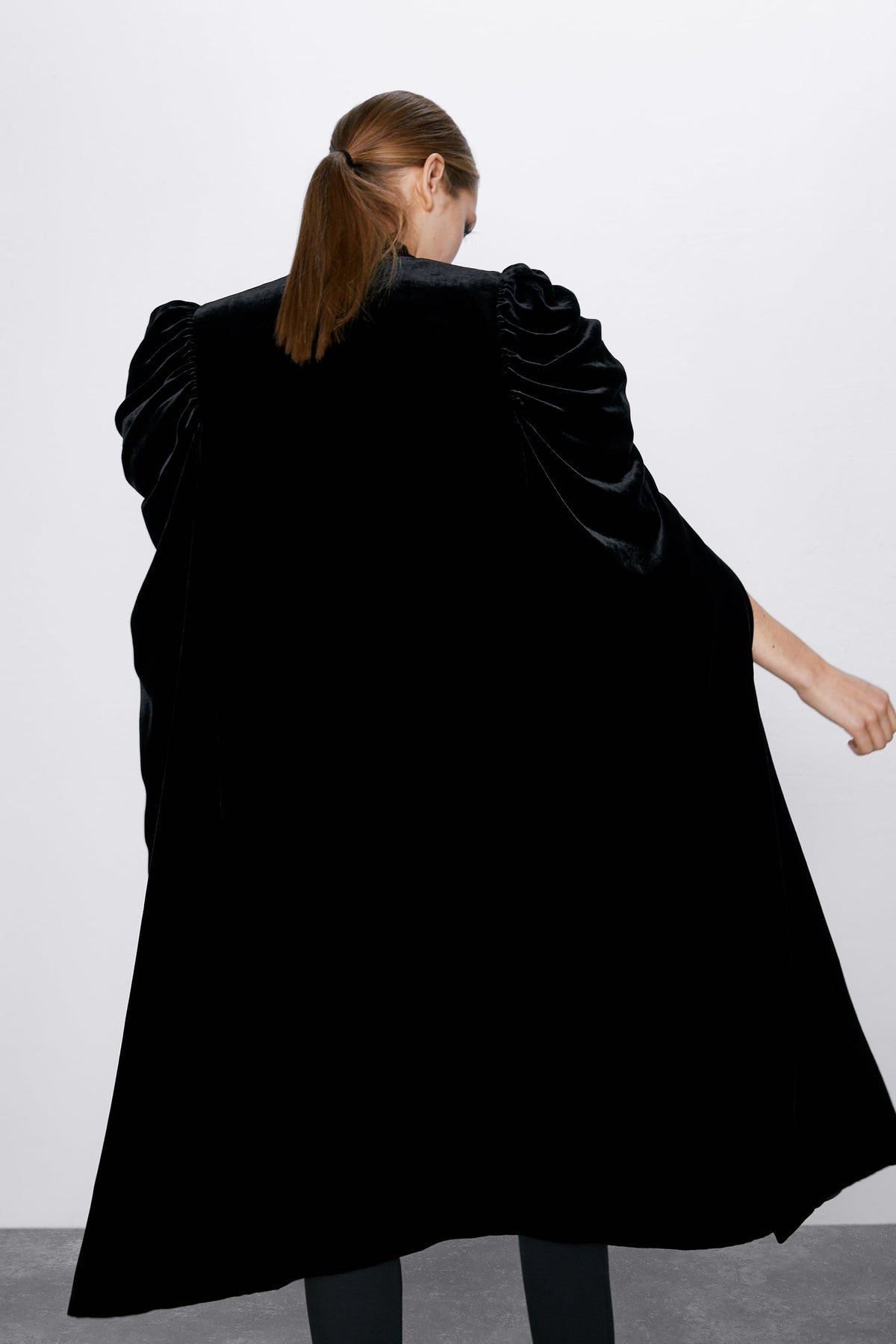 Women Asymmetrical Long Velvet Cape / with High Neck Front Tie Fastening